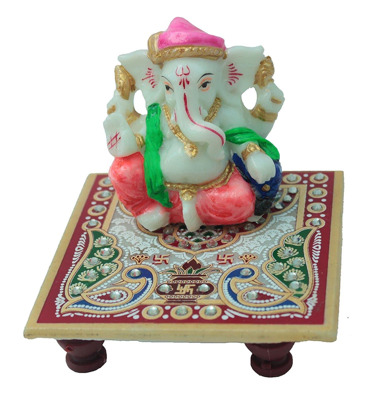 Lord Ganesha With Chowki I Home Decor Gift Item Vedic